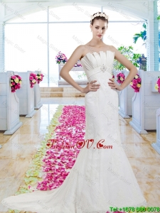 Exclusive Strapless Beaded Brush Train 2016 Wedding Dresses with Lace