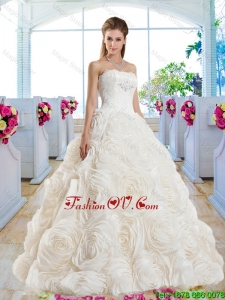 Gorgeous A Line Strapless Brush Train 2016 Wedding Dresses with Lace