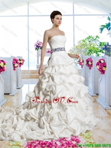 Gorgeous Sashes 2016 Bridal Gowns with Chapel Train