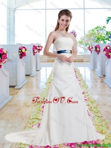 Inexpensive Strapless Belt and Ruched 2016 Wedding Dresses with Column