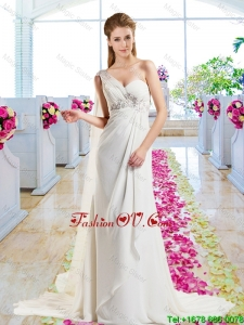 Latest Empire Beaded 2016 Wedding Dresses with One Shoulder
