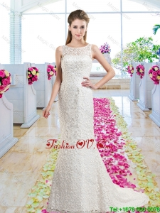 Luxurious Column Scoop Court Train 2016 Wedding Dresses with Lace