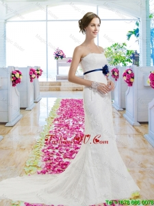 Pretty 2016 Column Laced Wedding Dresses with Lace