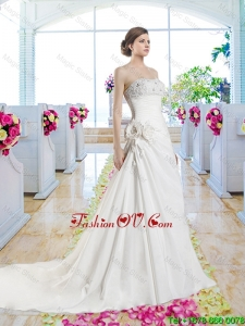 Pretty Strapless Beaded 2016 Bridal Gowns with Hand Made Flowers