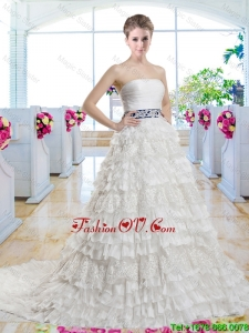 Popular Belt and Laced 2016 Bridal Gowns with Ruffled Layers