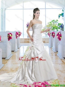 Romantic Mermaid One Shoulder 2016 Bridal Gowns with Court Train