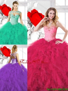 Exclusive Sweetheart Quinceanera Gowns with Beading and Ruffles for 2016 Spring