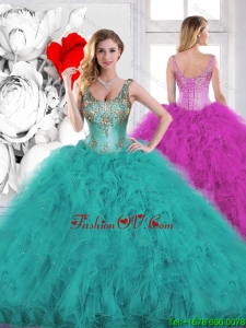 Gorgeous Beading Scoop Teal Sweet 16 Dresses with Ruffles