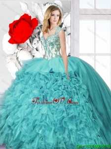 Latest Ball Gown Straps Sweet 16 Dresses with Appliques