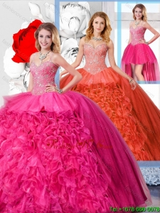 Modest Ball Gown Straps 2016 Spring Detachable Quinceanera Dresses