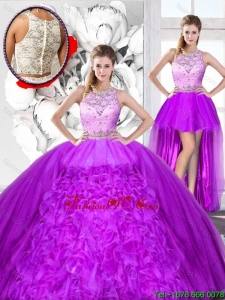 Perfect Beaded and Ruffles Detachable Sweet 16 Dresses with Scoop