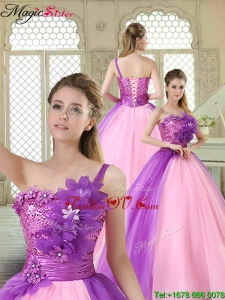 Elegant Hand Made Flowers Sweetheart Quinceanera Dresses in Multi Color