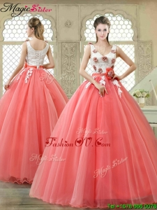 Elegant Watermelon Quinceanera Dresses with Hand Made Flowers