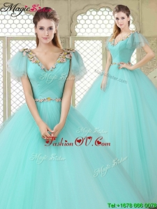 Exquisite V Neck Mint Sweet 16 Dresses with Appliques