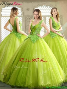 Luxurious Beading and Appliques Quinceanera Dresses in Yellow Green
