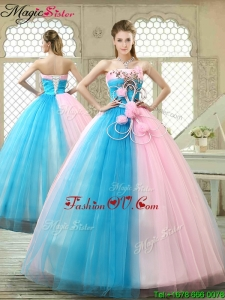 2016 Fall Fashionable Hand Made Flowers Sweet 16 Gowns with Strapless