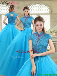 2016 Fall Fashionable High Neck Quinceanera Gowns in Baby Blue