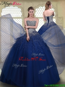 2016 Fall Gorgeous Ball Gown Strapless Quinceanera Gowns in Navy Blue