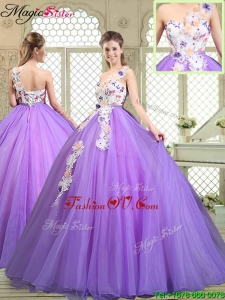 2016 Fall Popular Beading and Appliques Quinceanera Gowns with One Shoulder