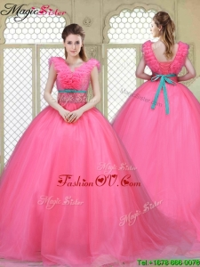 2016 Spring Fashionable Brush Train Quinceanera Dresses in Hot Pink