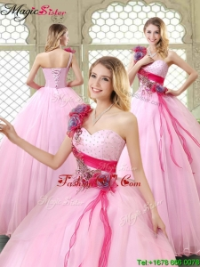 2016 Spring New Arrivals Beading Quinceanera Gowns with One Shoulder