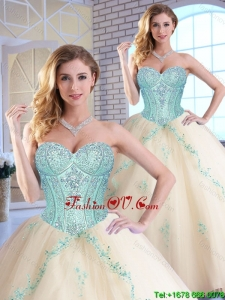 2016 Modern Appliques and Sequins Quinceanera Gowns in Champagne