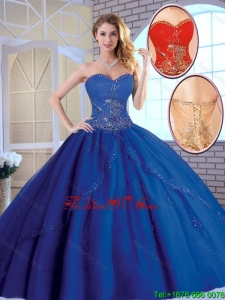 Exclusive 2016 Royal Blue Quinceanera Dresses with Appliques