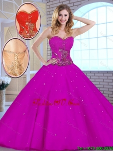 Hot Sale 2016 Appliques Fuchsia Quinceanera Dresses with Sweetheart
