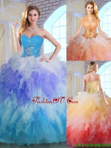 2016 Latest Winter Appliques and Ruffles Quinceanera Dresses in Multi Color