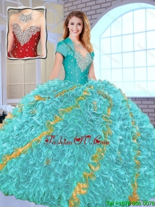 2016 Modest Beading Sweetheart Quinceanera Gowns in Multi Color