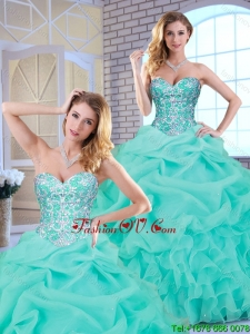 2016 Popular Beading and Ruffles Sweet 16 Dresses with Sweetheart