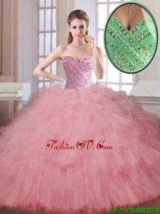 2016 Luxurious Beading and Ruffles Quinceanera Dresses in Watermelon