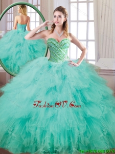 2016 New Style Sweetheart Beading and Ruffles Quinceanera Gowns