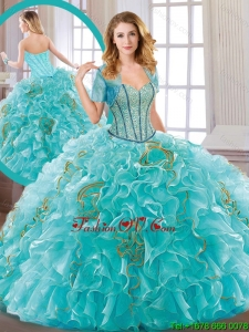 New Arrivals Aqua Blue Sweet 16 Dresses with Beading and Ruffles