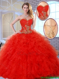 2016 Beautiful Red Quinceanera Dresses with Appliques and Ruffles