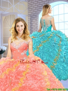 2016 Popular Beading Scoop Quinceanera Gowns with Zipper Up