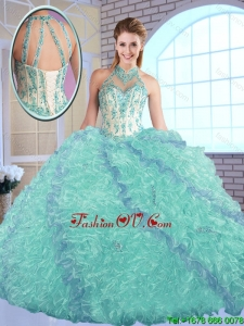 Elegant High Neck Quinceanera Dresses with Appliques and Ruffles