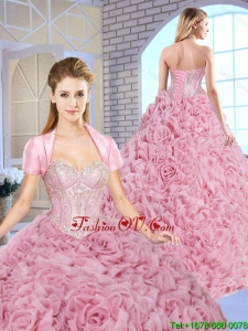 Luxurious Beading Brush Train Quinceanera Gowns with Rolling Flowers