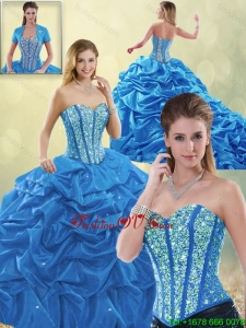2016 Detachable Luxurious Beading Blue Quinceanera Gowns with Sweetheart