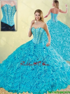 Detachable 2016 Exquisite Aqua Blue Quinceanera Dresses with Beading