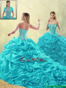 Detachable Cheap Beading and Pick Ups Quinceanera Gowns with Court Train