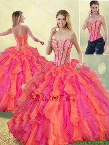 Detachable Cheap Beading and Ruffles Quinceanera Dresses in Multi Color