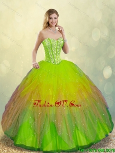 Detachable Cheap Multi Color Lace Up Sweet 16 Dresses with Beading