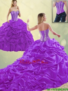 Detachable Classical Sweetheart Beading Quinceanera Dresses with Pick Ups