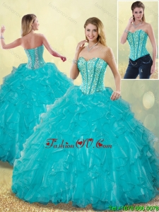 Detachable Elegant Aqua Blue Sweet 16 Dresses with Beading and Ruffles