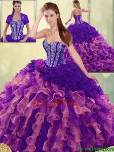 Detachable Elegant Beading and Ruffles Quinceanera Dresses with Sweetheart
