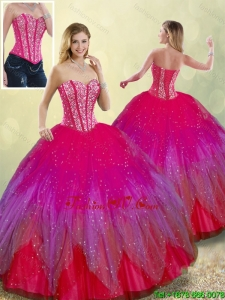 Detachable Fashionable Beading Sweetheart Multi Color Quinceanera Dresses