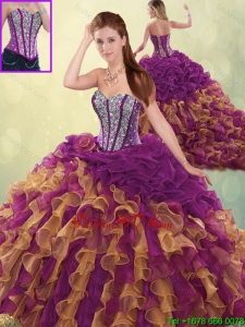 Detachable Fashionable Brush Train Beading Sweet 16 Dresses in Multi Color