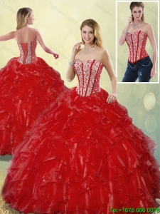 Detachable Luxurious Sweetheart Quinceanera Gowns in Wine Red for 2016