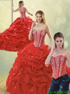 Detachable Perfect Sweetheart Quinceanera Dresses with Beading and Pick Ups